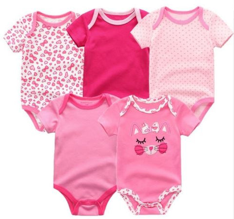 Babies Short Sleeve Rompers (0-3 months) - 5pc Set - Pink