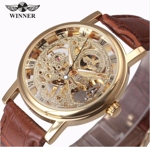 Automatic Skeleton Mechanical Watches -  Leather Band - Gold