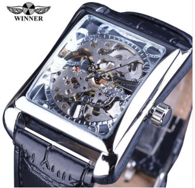 Automatic Rectangle Skeleton Mechanical Watches - Silver