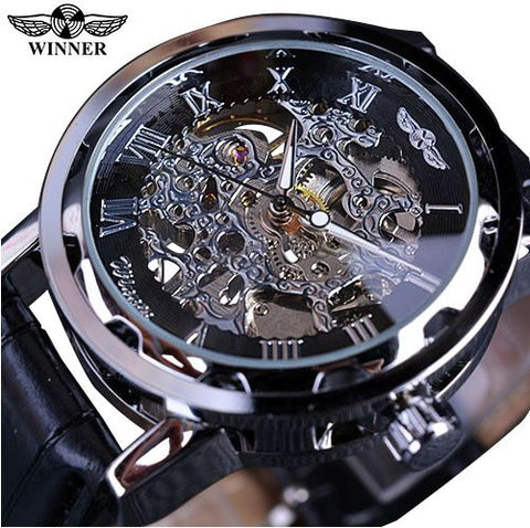 Automatic Skeleton Mechanical Watches - Black Leather Band - Silver Black