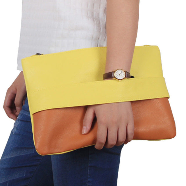 Ladies Patchwork Clutches - Brown Yellow