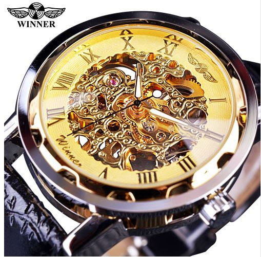 Automatic Skeleton Mechanical Watches - Black Leather Band - Gold