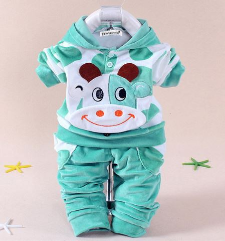 Babies 2pc Clothes Set MOOMOO Cow Green - 12months
