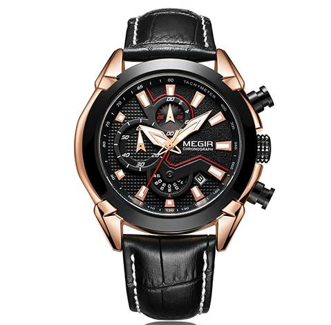 Men's Chronograph Watch - Megir Black Rose Gold
