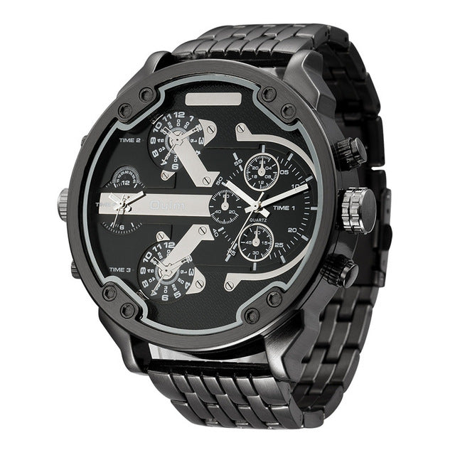 Men's Casual Military Dual Dial Watch -  Steel Belt - Black