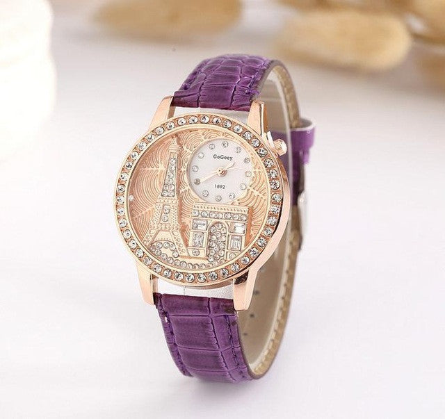 Ladies Eiffel Tower Watch - Purple