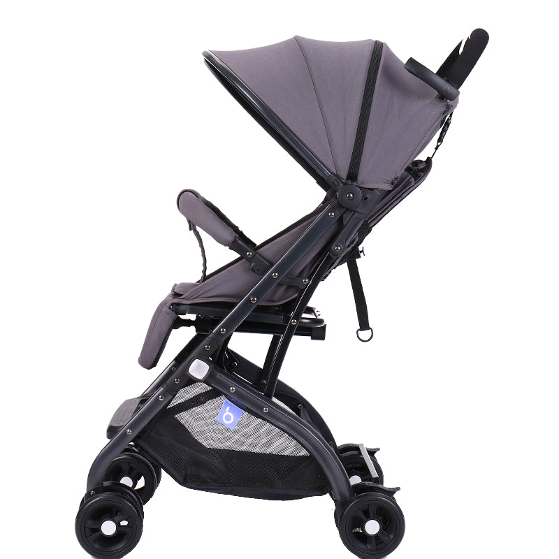 4 Wheel Fold-able Baby Pram With Retractable Handle - Grey