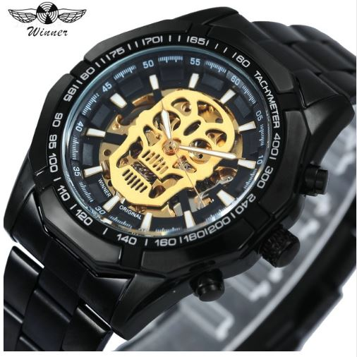 Automatic Skeleton Mechanical Watches - Black Gold