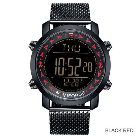 Men's Dual Display Pedometer Naviforce Watch - Black Red