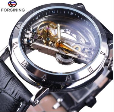 Automatic Skeleton Mechanical Watches - Minimilism - Black Silver