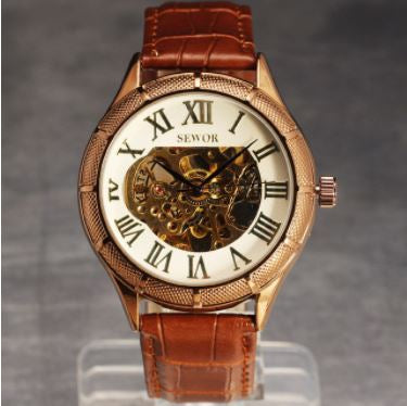 Automatic Skeleton Mechanical Watches - Retro Roman Dial -  White and Brown