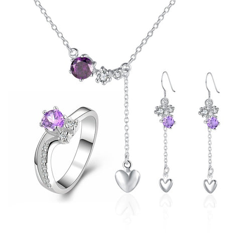 Purple Stone Crystal Pendant Jewellery Set