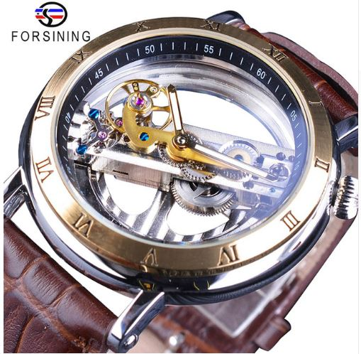 Automatic Skeleton Mechanical Watches - Minimalism - Brown Gold