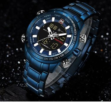 Men's Dual Display Naviforce Watch - Blue