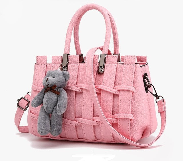Ladies Cross Body Striped Hand Bag - Pink