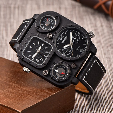 Men's Dual Dial Watch - Black