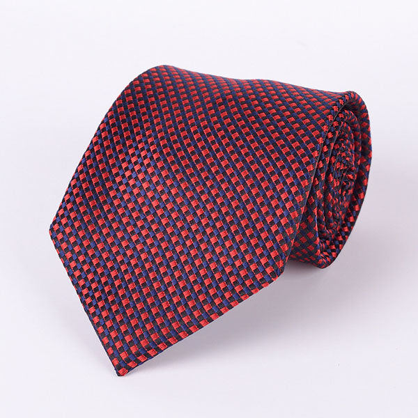 Men's Ties - Red Blue Grid