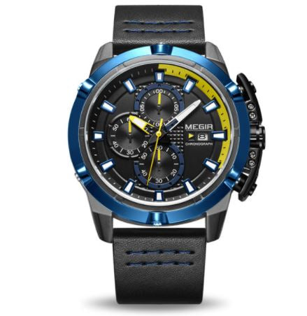 Men's Chronograph Watch - Megir Blue