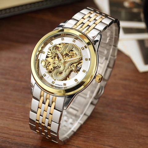 Men's Automatic Dragon Skeleton Mechanical Watch - Silver Gold