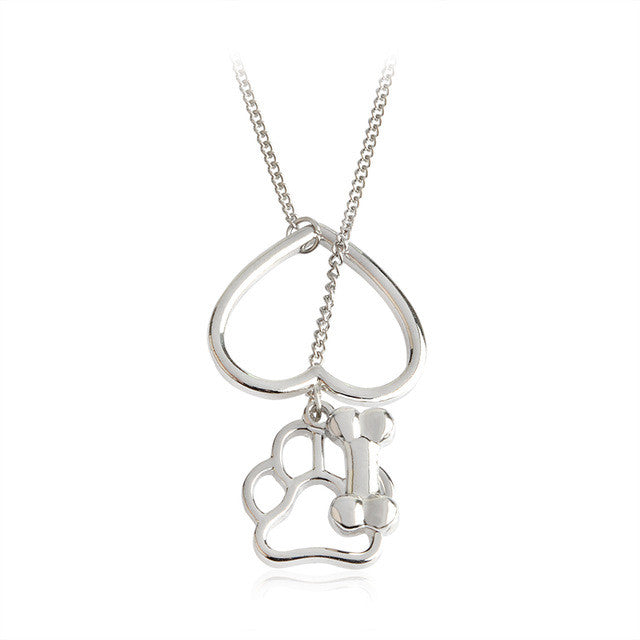 Heart Dog Paw Bone Pendent Necklace