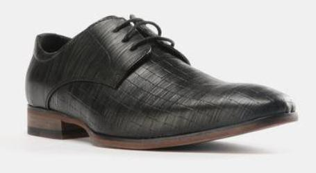Formal Embossed Lace Up Shoes Black