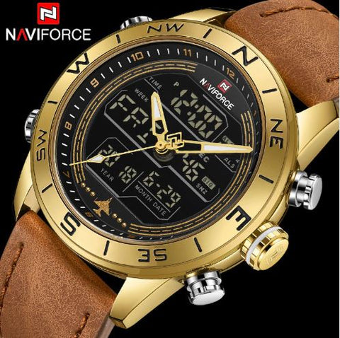 Men's Dual Display Naviforce Watch - Gold