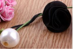 Rose and Pearl Hair Tie