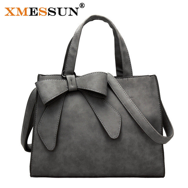 Ladies Bow Handbag - Dark Grey