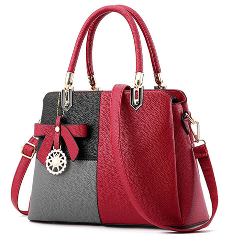 Ladies 3 Tone Tote Handbag - Red