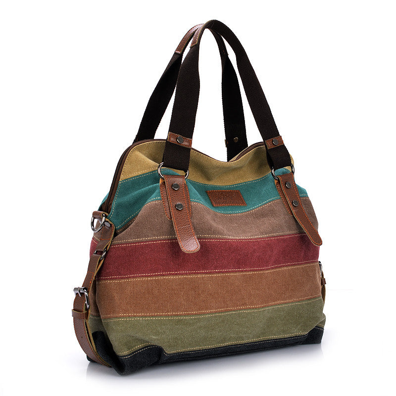 Ladies Canvas Patched Tote Bag