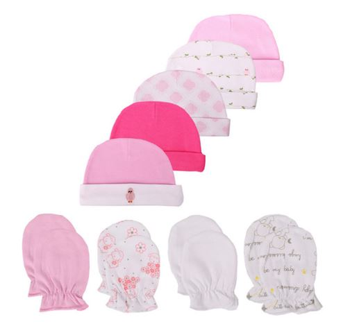 Babies 9pc Beanie and Booty Set (0-3 months) - Pink
