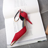 Ladies Suede Pumps Metal Toe - Red