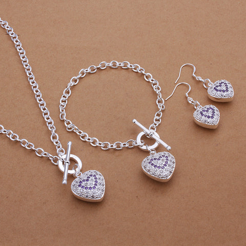 Purple Stone Heart Pendant Jewellery Set