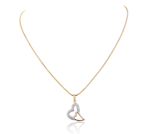 Double Heart 18k Gold and Platinum Plated Chain