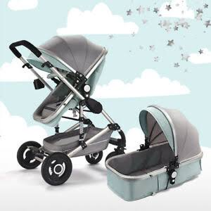 Baby Pram Stroller - 2 Positions Foldable Baby Pram - Grey/Green