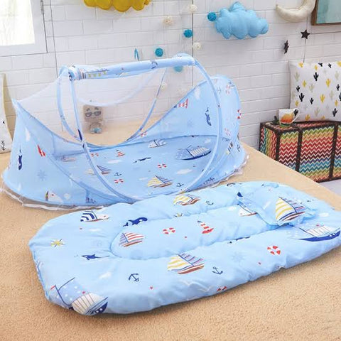 Baby Mattress & Pillow Net Bed  - Blue