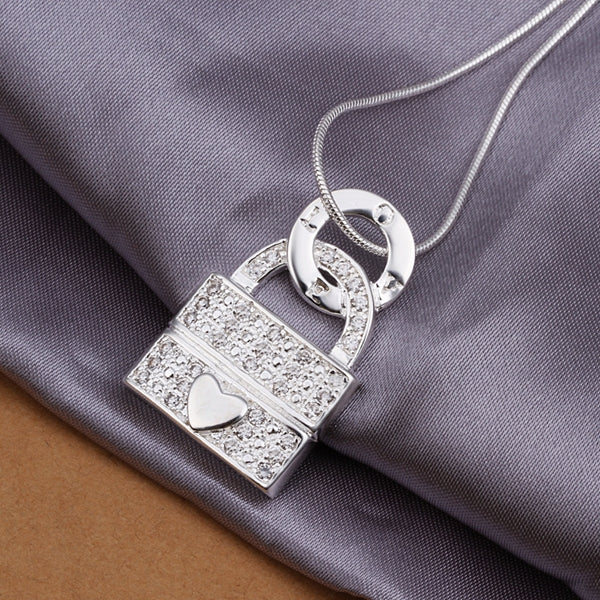 Lock and Heart Pendant Necklace