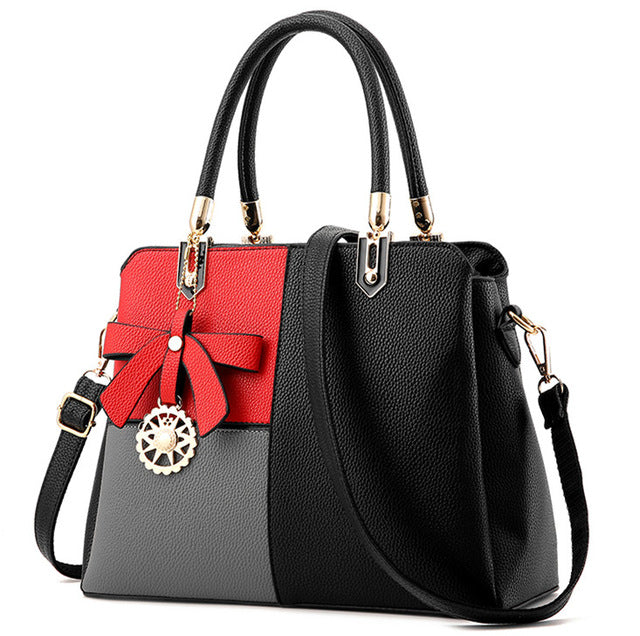 Ladies 3 Tone Tote Handbag - Black