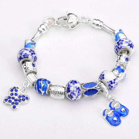 Lucky Shoes Charm Bracelet - Blue