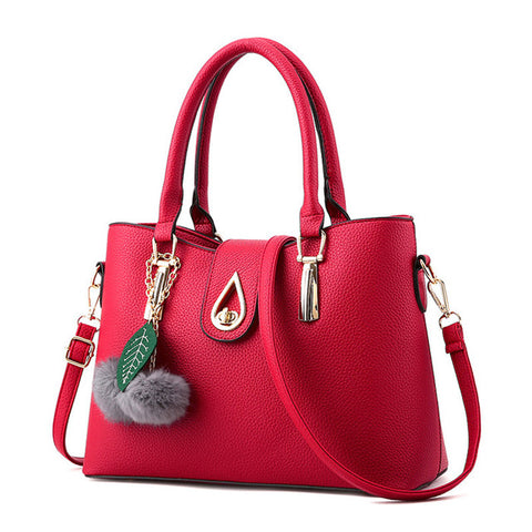 Ladies Tassel Pendant Hand Bag - Wine Red
