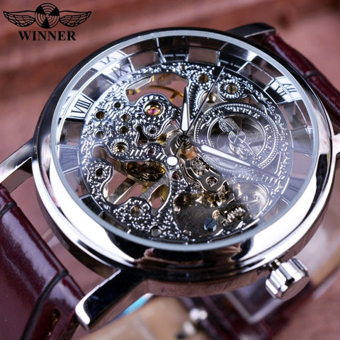 Automatic Skeleton Mechanical Watches -  Leather Band - Silver