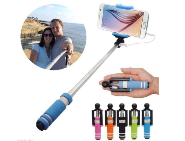 Extendable Handheld Mini Selfie Stick Wired Monopod Remote Holder For Smartphone