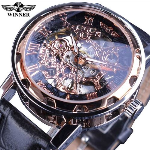 Automatic Skeleton Mechanical Watches -  Leather Band - Rose Black