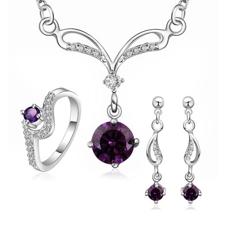 Purple Water Drop Pendant Jewellery Set