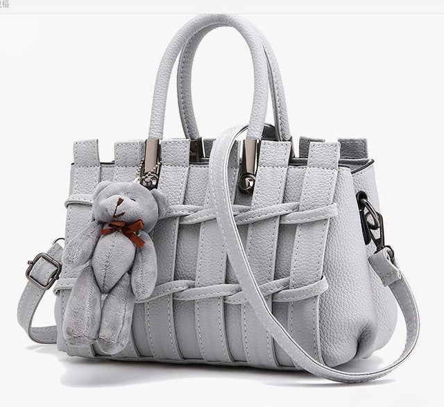 Ladies Cross Body Striped Hand Bag - Grey
