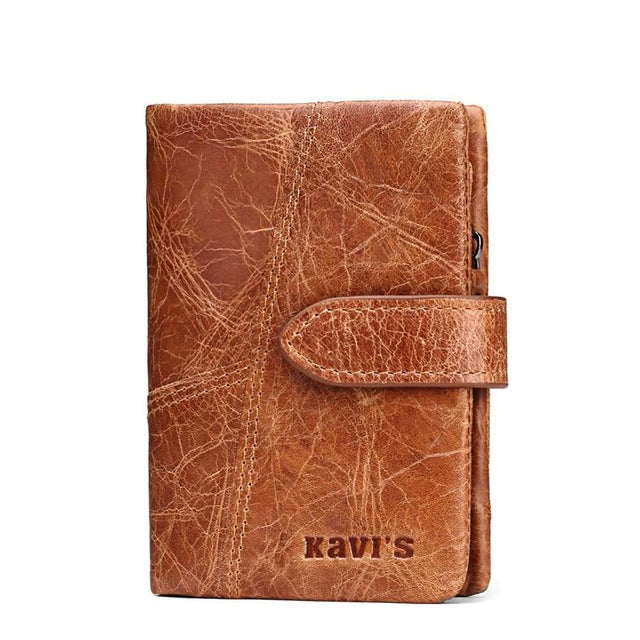 Men's Genuine Leather Vintage Wallet - Brown Vertical