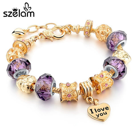 Gold Plated Pulsera Charm Bracelet - I Love You Style 8 - purple