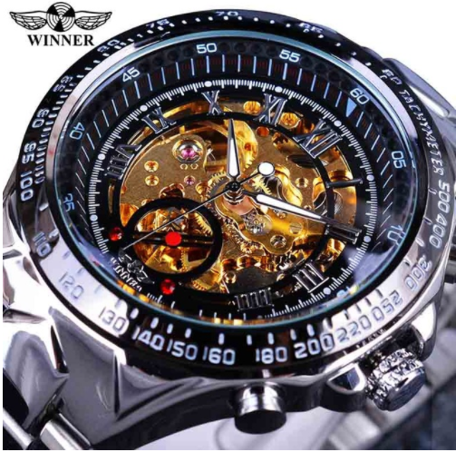 Automatic Skeleton Mechanical Watches - Silver and Gold Stainless Steel