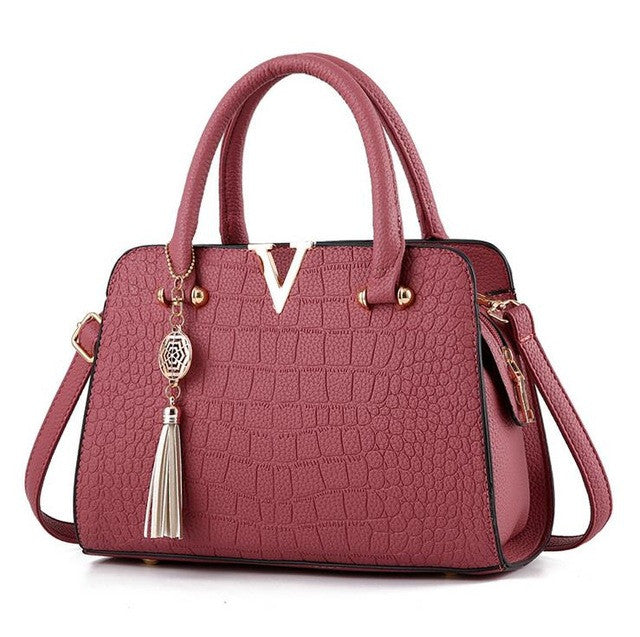 Ladies Crocodile Print Handbag - Rubber Red
