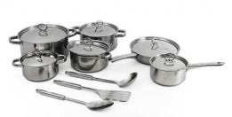 15 PIECES STAINLESS STEEL COOKWARE SET (Box is damaged, pots are brand new)